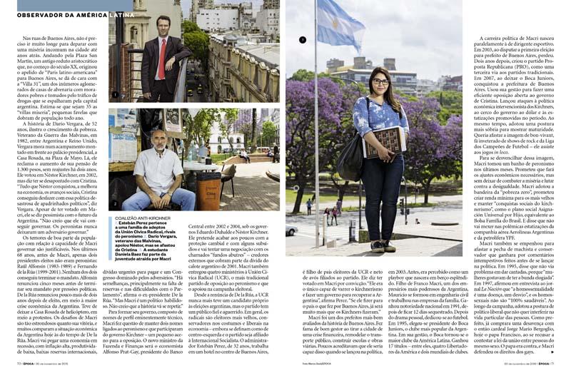 Doble página de un artículo de la revista Epoca de Brasil con fotografía retrato de Marco Guoli, Buenos Aires