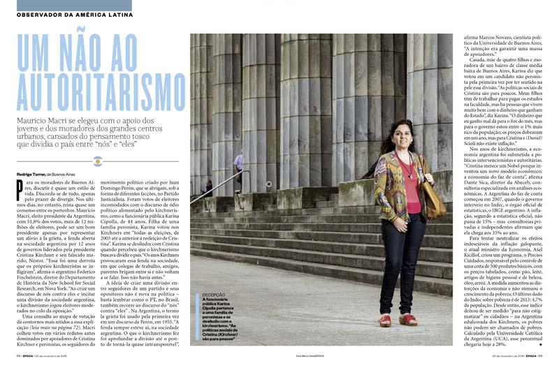 Doble página de apertura de un artículo de la revista Epoca de Brasil con fotografía retrato de Marco Guoli, Buenos Aires