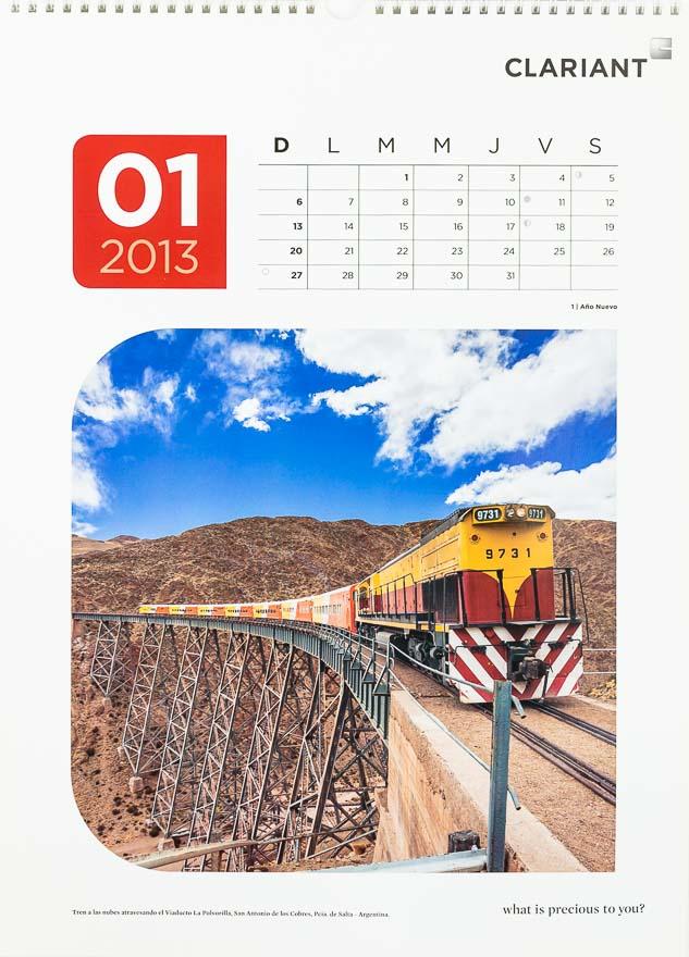 Página del mes de enero del Calendario corporativo Clariant 2013, con una FOTOGRAFÍA del tren a las nubes DEL BANCO DE IMÁGENES DE MARCO GUOLI