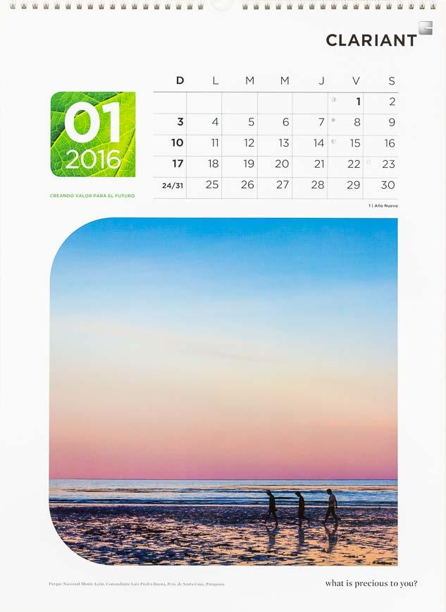 Página del mes de enero del Calendario corporativo Clariant Argentina, con una foto de Monte León, Santa Cruz