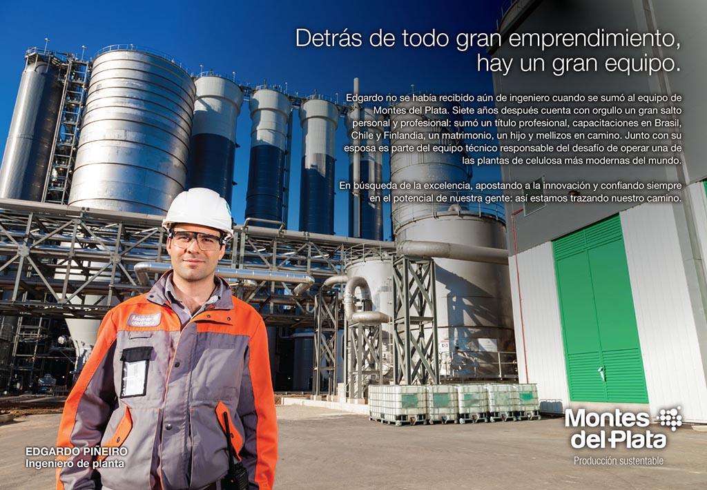 Anuncio en doble página de la Campaña publicitaria Montes del Plata, Uruguay, con una fotografía Retrato en la planta realizado por Marco Guol