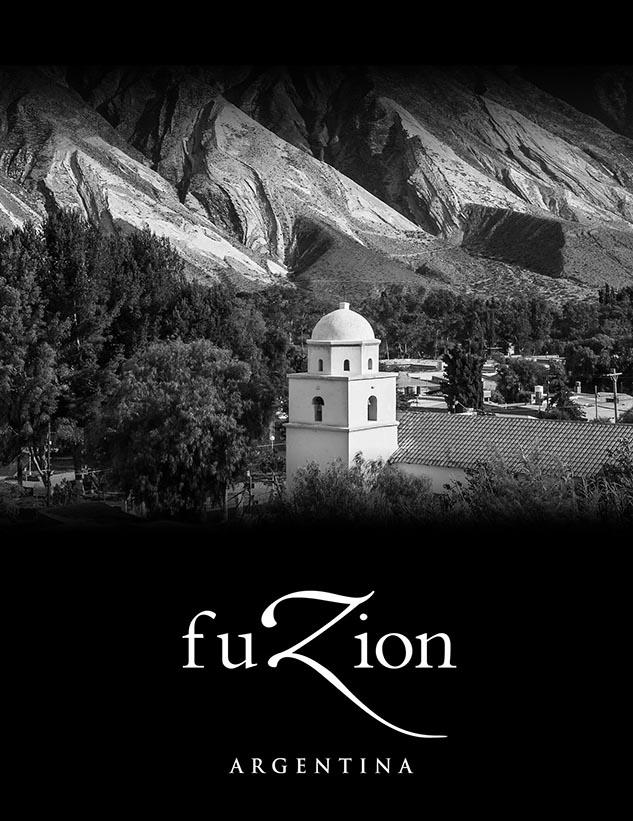 Boceto de tapa con fotos stock para brochure de líneas de vinos Fuzion de la Bodega Familia Zuccardi