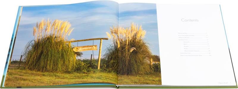 Doble página interna del Libro fotográfico Bioparque M'Bopicuá con el cartel de entrada al parque entre unas cortaderas