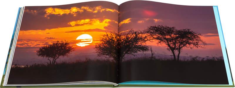 Retiración de contra tapa del Libro fotográfico Bioparque M'Bopicuá con una imagen de puesta de sol en el parque