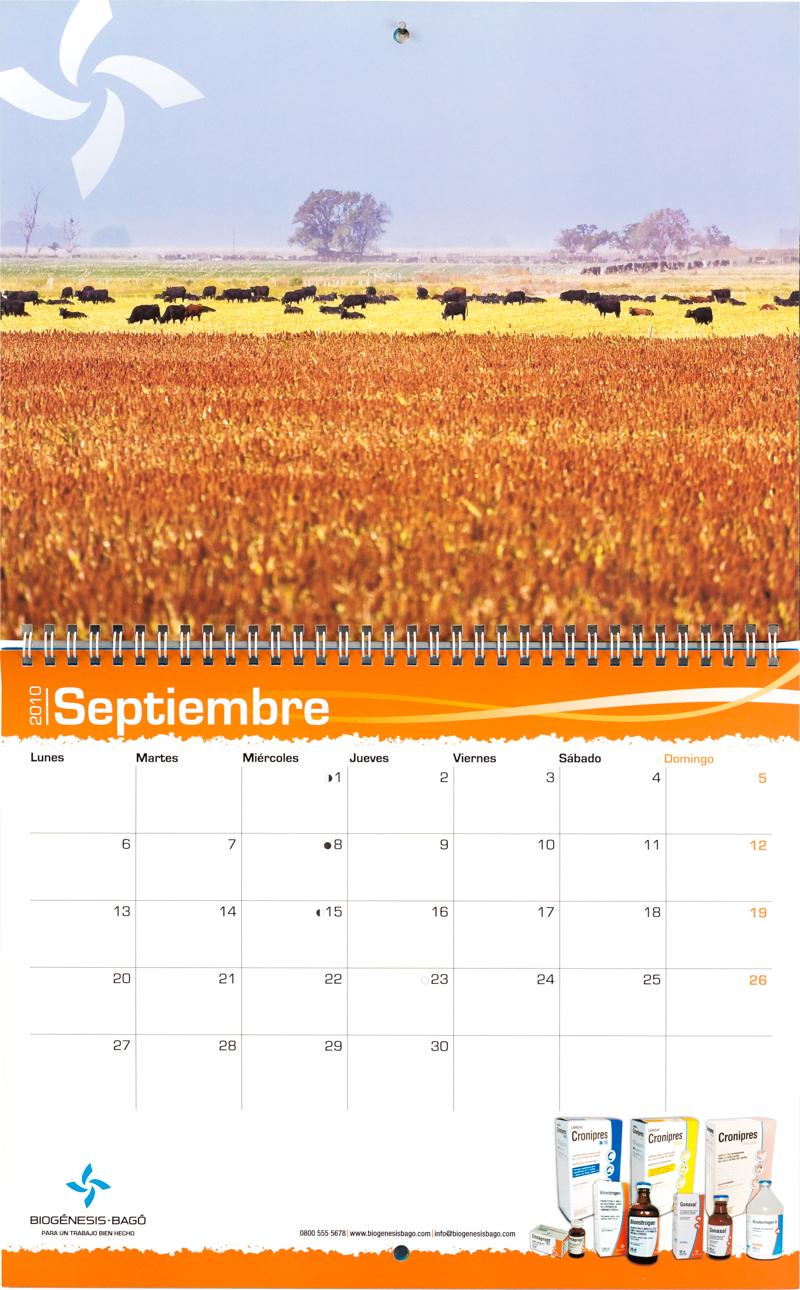 Mes de septiembre del calendario corporativo Biogenesis-Bagó con una foto del campo argentino de Marco Guoli