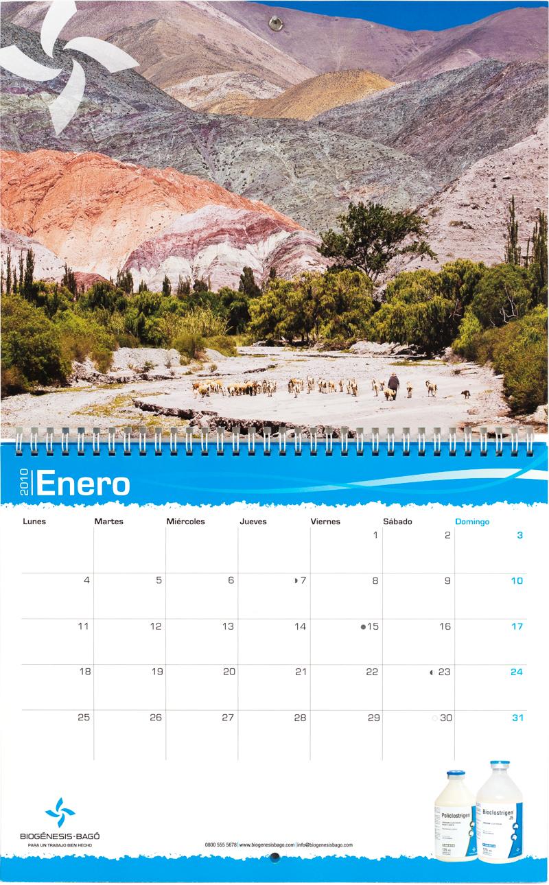 Mes de enero del calendario corporativo Biogenesis-Bagó con una foto de Purmamarca de Marco Guoli