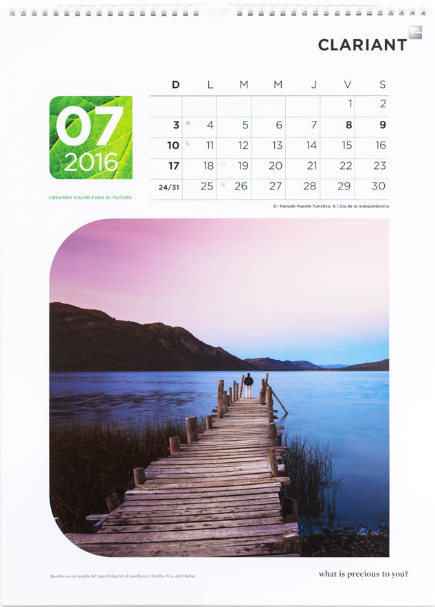 Página del mes de julio del Calendario corporativo Clariant Argentina, con una foto de la provincia del, Chubut