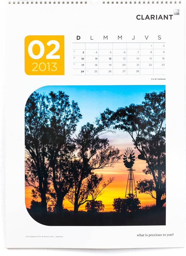 Página del mes de febrero del Calendario corporativo Clariant 2013, con FOTOGRAFÍAS DEL BANCO DE IMÁGENES DE MARCO GUOLI