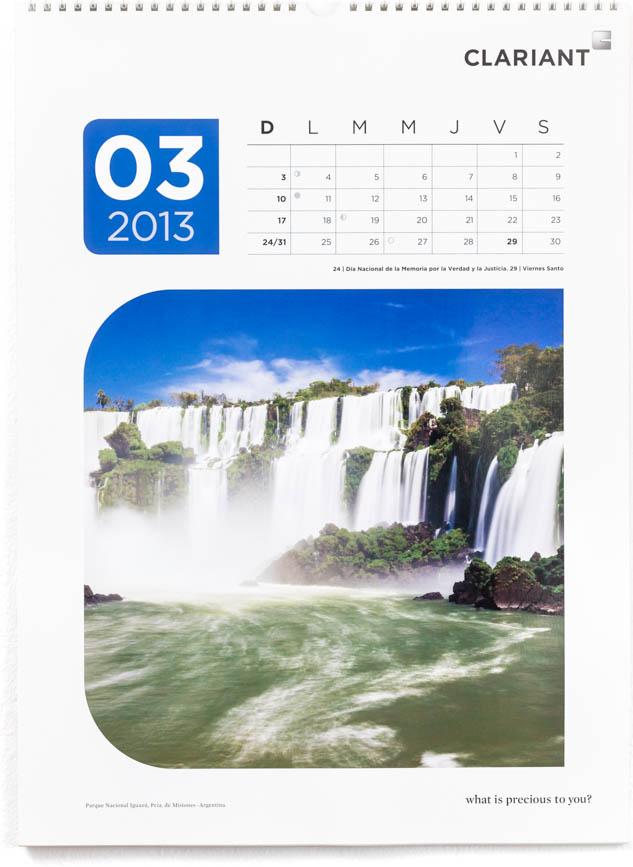Página del mes de marzo del Calendario corporativo Clariant 2013, con una FOTOGRAFÍA de Cataratas del Iguazú DEL BANCO DE IMÁGENES DE MARCO GUOLI
