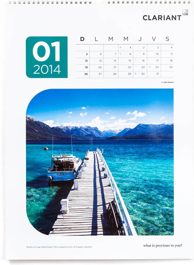 Página del mes de enero del Calendario corporativo Clariant 2014, con una fotografía de Villa La Angostura de Marco Guoli