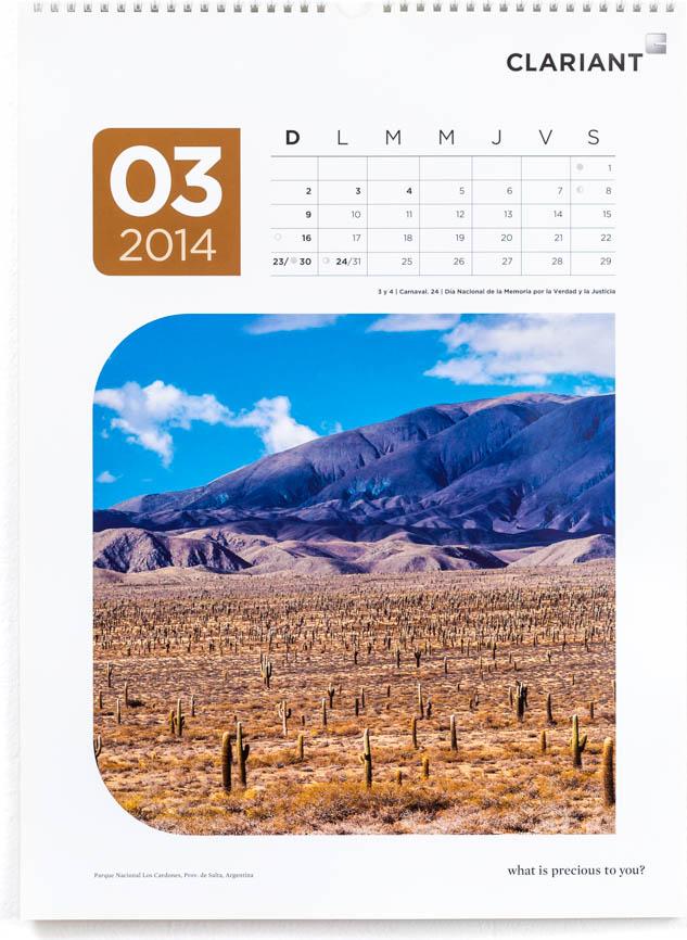 Página del mes de marzo del Calendario corporativo Clariant 2014, con una fotografía del Parque Nacional Los Cardones de Marco Guoli