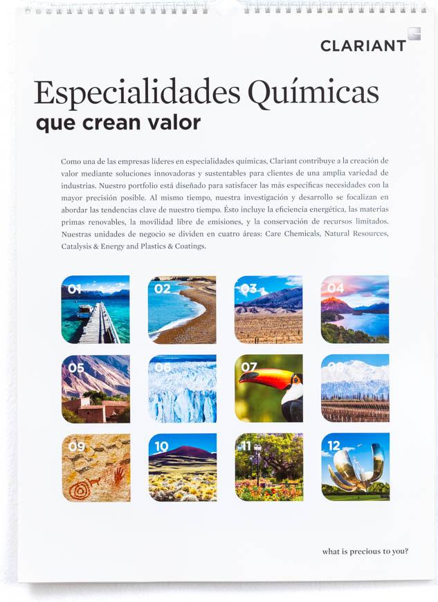 Página del resumen de los meses del Calendario corporativo Clariant 2014, con fotografías de paisajes de Argentina de Marco Guoli