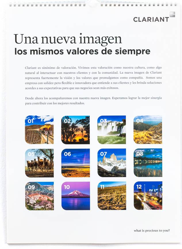 Página del resumen de los meses del Calendario corporativo Clariant 2013 con FOTOGRAFIAS DEL BANCO DE IMAGENES DE MARCO GUOLI