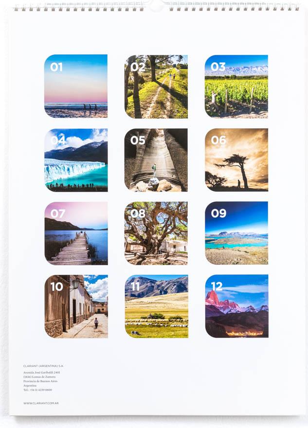 Última página del Calendario corporativo Clariant Argentina con el resumen de las fotos de Argentina publicadas