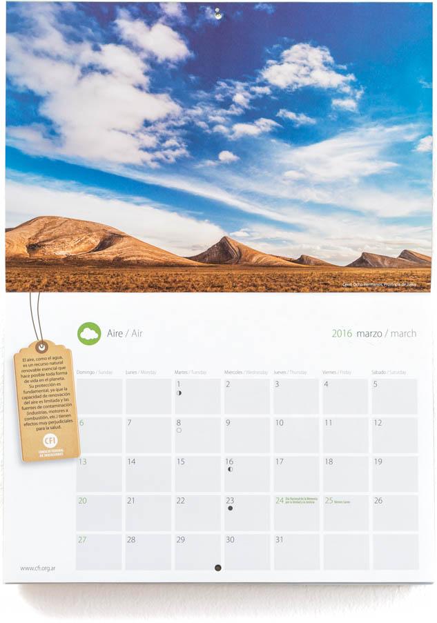 Pagina con el mes de marzo del Calendario Consejo Federal Inversiones, con una fotografía de Jujuy DEL BANCO DE IMAGENES DE MARCO GUOLI