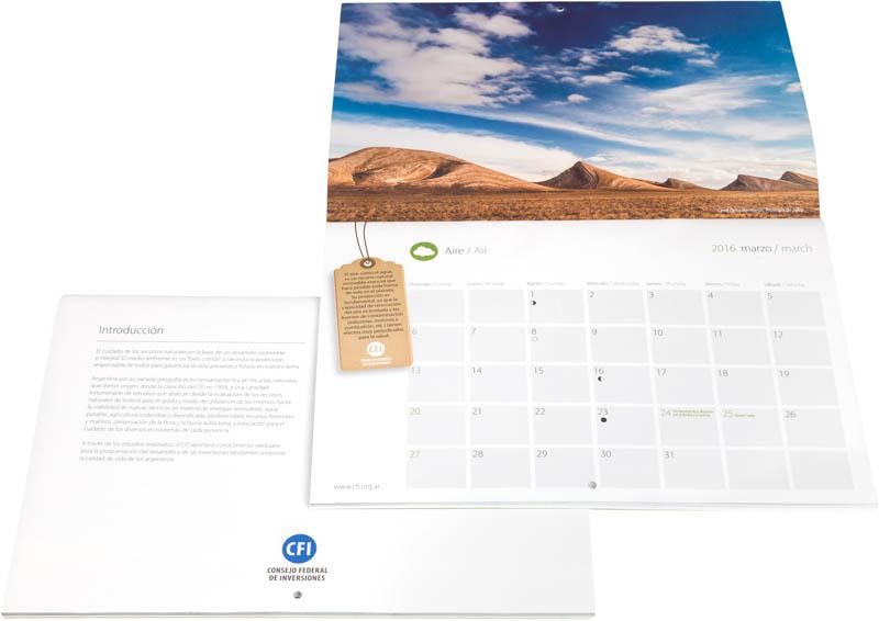 Introdución y Pagina con el mes de marzo del Calendario Consejo Federal Inversiones, con una fotografía de Jujuy DEL BANCO DE IMAGENES DE MARCO GUOLI