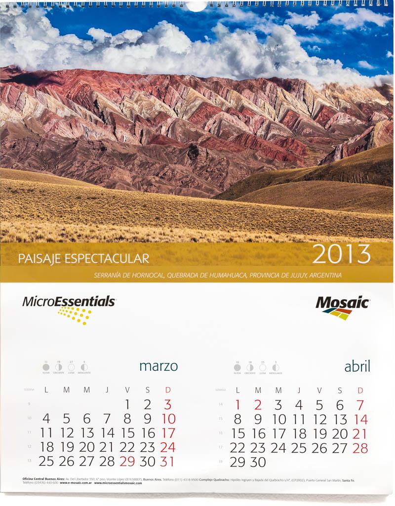 Bimestre marzo abril del Calendario corporativo de pared Mosaic 2013 con fotografías en alta resolución del Banco de imágenes de Marco Guoli