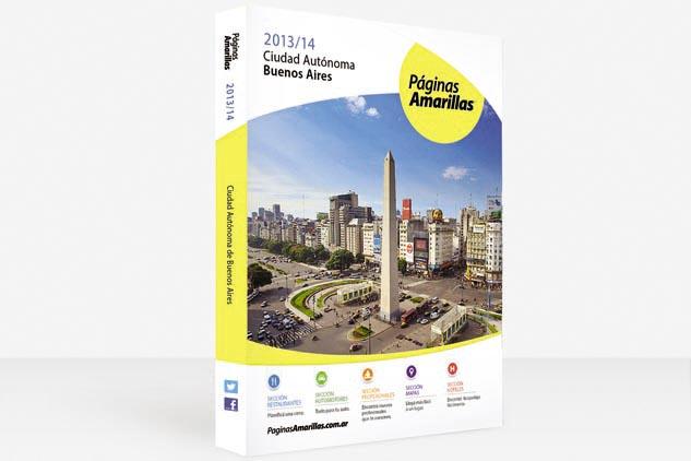 Tapa de Páginas Amarillas del volumen de la ciudad de Buenos Aires, con una fotografía de calidad profesional del Obelisco de Marco Guoli