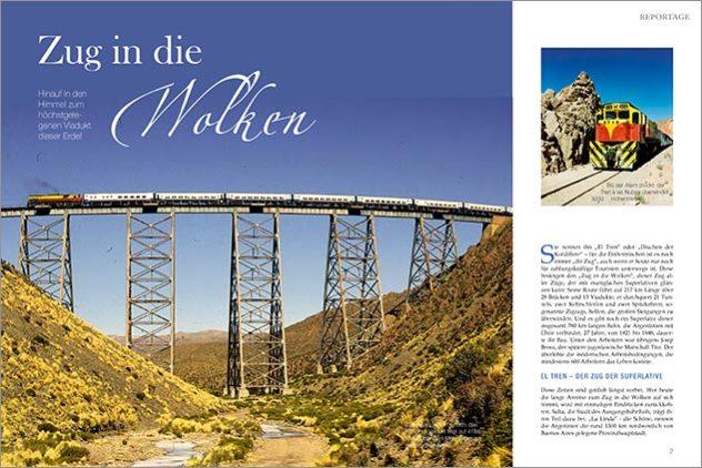 Doble página de apertura de la nota periodistica de la revista Eisenbahn Romantik sobre el tren a las nubes con fotos del Banco de imágenes de Marco Guoli