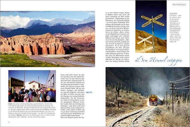Doble página de la nota periodistica de la revista Eisenbahn Romantik sobre el tren a las nubes con fotos del Banco de imágenes de Marco Guoli