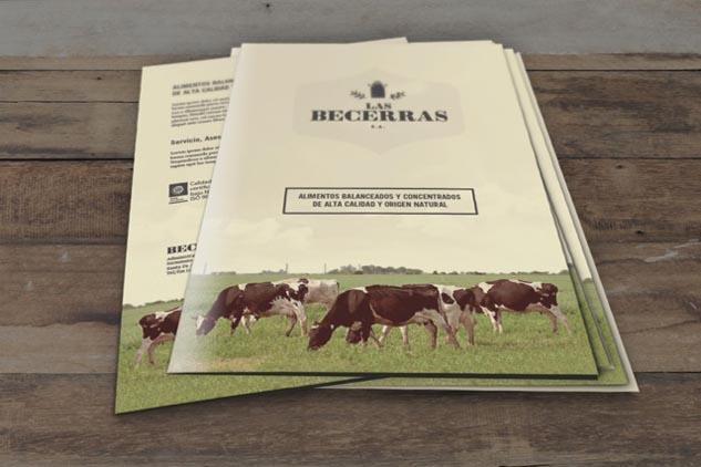 Carpeta de presentación de producto de Las Becerras Lácteos Verónica, con fotografías de vacas holando-argentino pastando en un tambo del Banco de imágenes de Marco Guoli, Buenos Aires