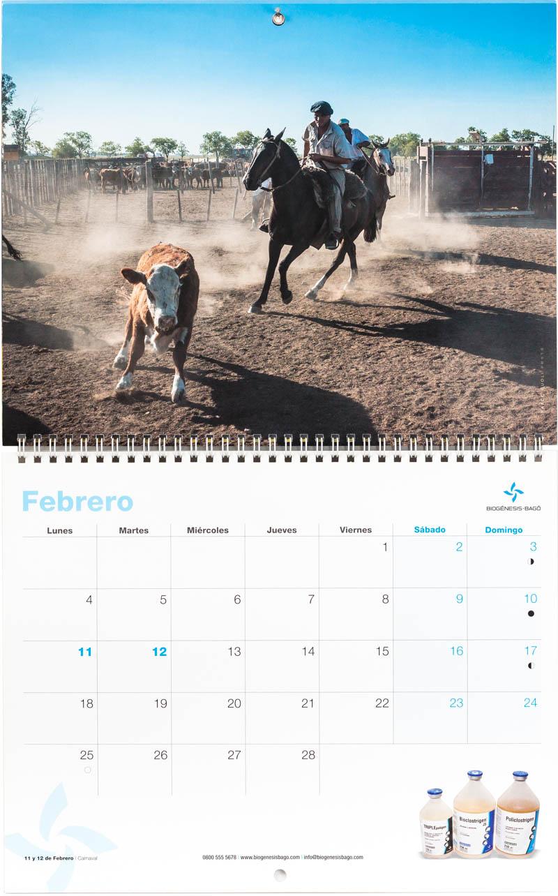 Mes de febrero del Calendario empresarial Biogénesis-Bagó con una imagen de un peón trabajando en un feed-lot del Banco de imágenes de Marco Guoli, Argentina