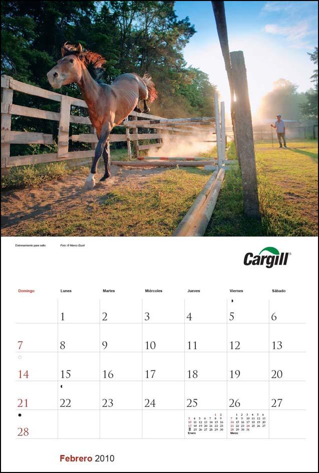 Imagen de la página del mes de febrero del Calendario empresarial Cargill Argentina con una fotografía de un caballo saltando del Banco de imágenes de Marco Guoli, Buenos Aires
