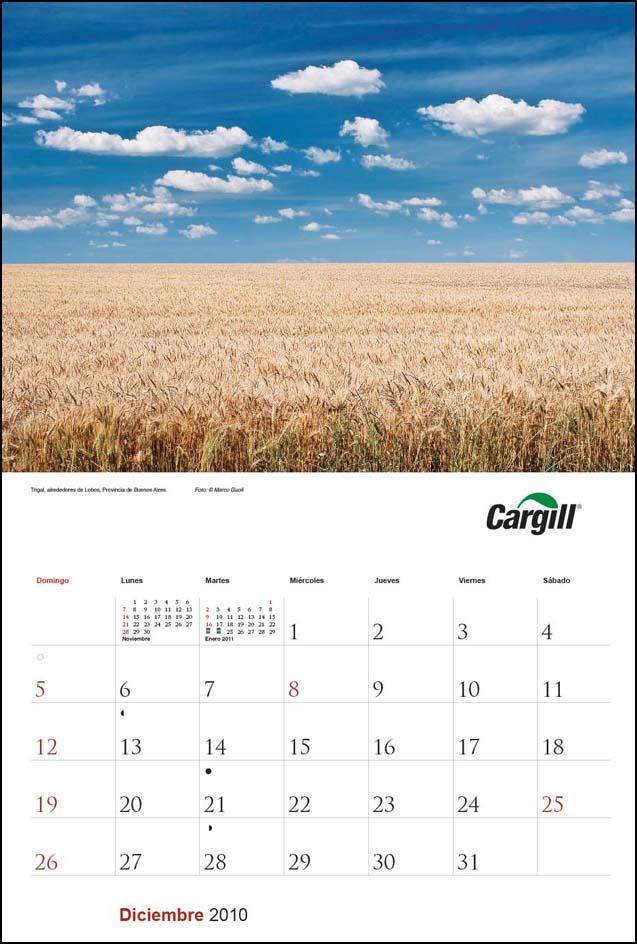Imagen de la página del mes de diciembre del Calendario empresarial Cargill Argentina con una fotografía de un cultivo de trigo del Banco de imágenes de Marco Guoli, Buenos Aires
