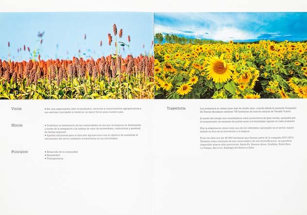 Doble página interna del Folleto institucional Compañia de tierras con 2 imágenes de cultivos del Banco de imágenes de Marco Guoli