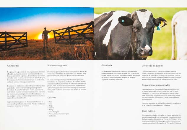 Doble página interna del Folleto institucional Compañia de tierras con 2 imágenes de una tranquera y una vaca holando-argentino del Banco de imágenes de Marco Guoli