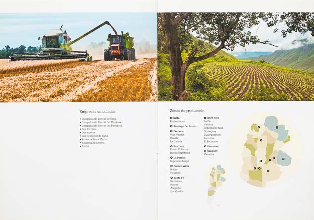 Doble página interna del Folleto institucional Compañia de tierras con 2 imágenes de campo argentino del Banco de imágenes de Marco Guoli