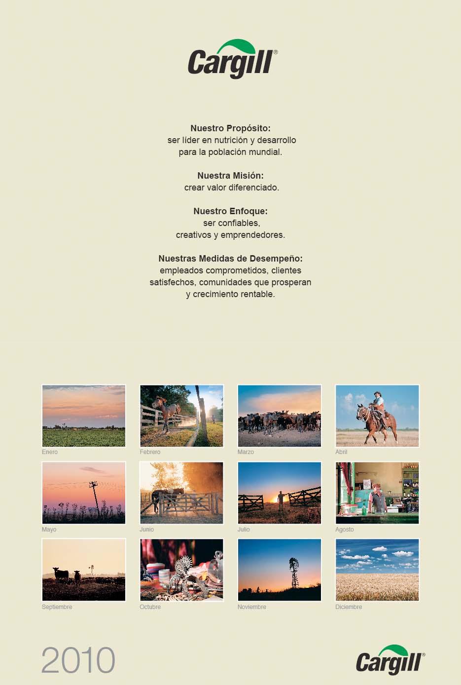 Página del resumen de los meses de del Calendario empresarial Cargill Argentina con 12 fotografías del Banco de imágenes de Marco Guoli, Buenos Aires