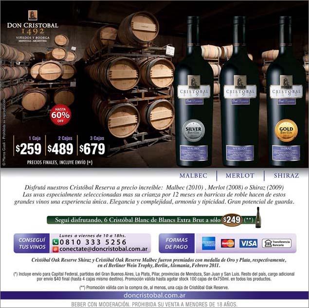 fotografía para Bodega Don Cristóbal 1492 publicada en un flyer de venta de linea vinos reserva con una imagen de barricas del banco de imágenes de Marco Guoli