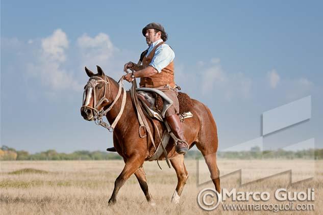 Fotografía de un gaucho a caballo de Marco Guoli, una de las 7 imágenes elegidas para la muestra para el día del caballo organizada anualmente por el  Ministerio de agricultura, ganadería y pesca de la Argentina