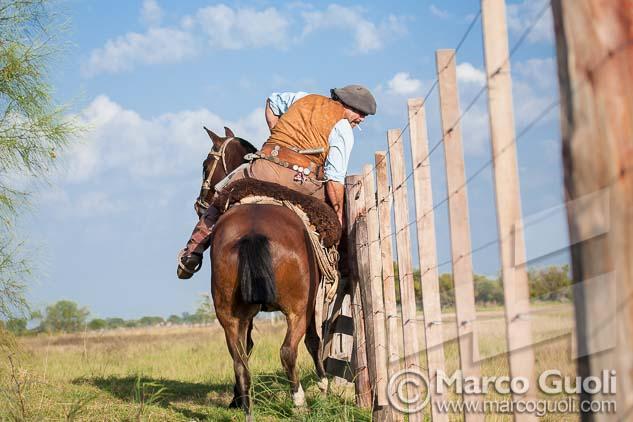 Fotografía de un gaucho cerrando una tranquera de Marco Guoli, elegida para la tapa del folleto de invitación de la muestra para el día del caballo organizada anualmente por el  Ministerio de agricultura, ganadería y pesca de la Argentina