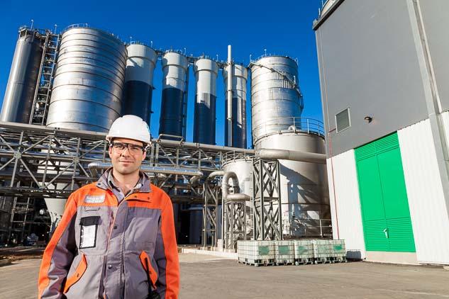 Retrato fotográfico en la planta de Uruguay realizado por Marco Guoli para la Campaña publicitaria Montes del Plata, Uruguay
