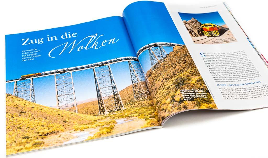 Revista Eisenbahn Romantik sobre el tren a las nubes con fotos del Banco de imágenes de Marco Guoli