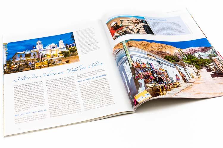 Doble página de la revista Eisenbahn Romantik sobre el tren a las nubes con fotos de Marco Guoli