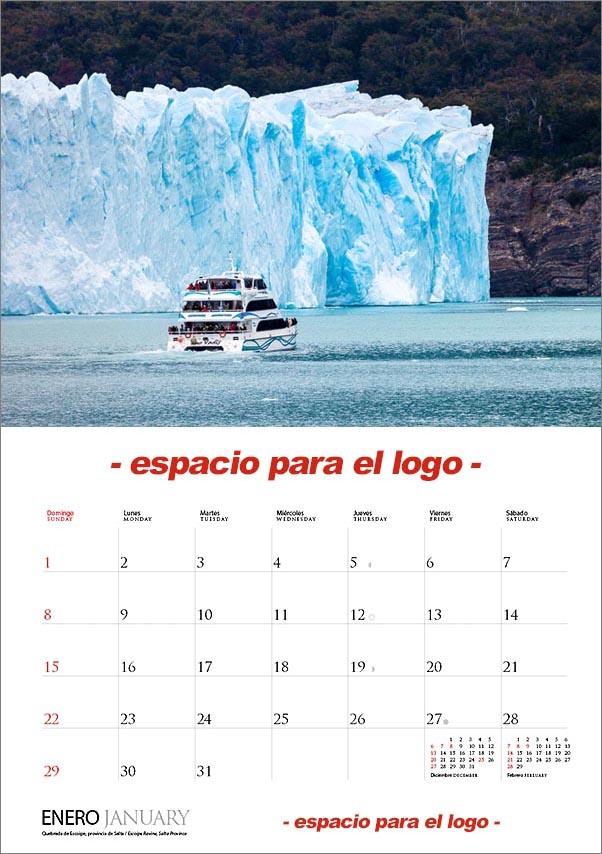 doble pagina interna calendario argentina con espacio para el logo de las empresas
