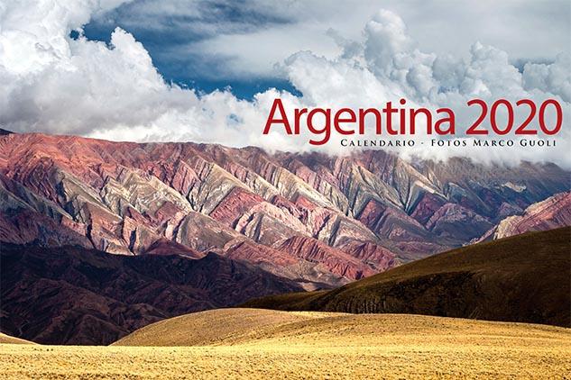 Tapa del Calendario Argentina 2020 con una foto de la serrania del hornocal de marco guoli