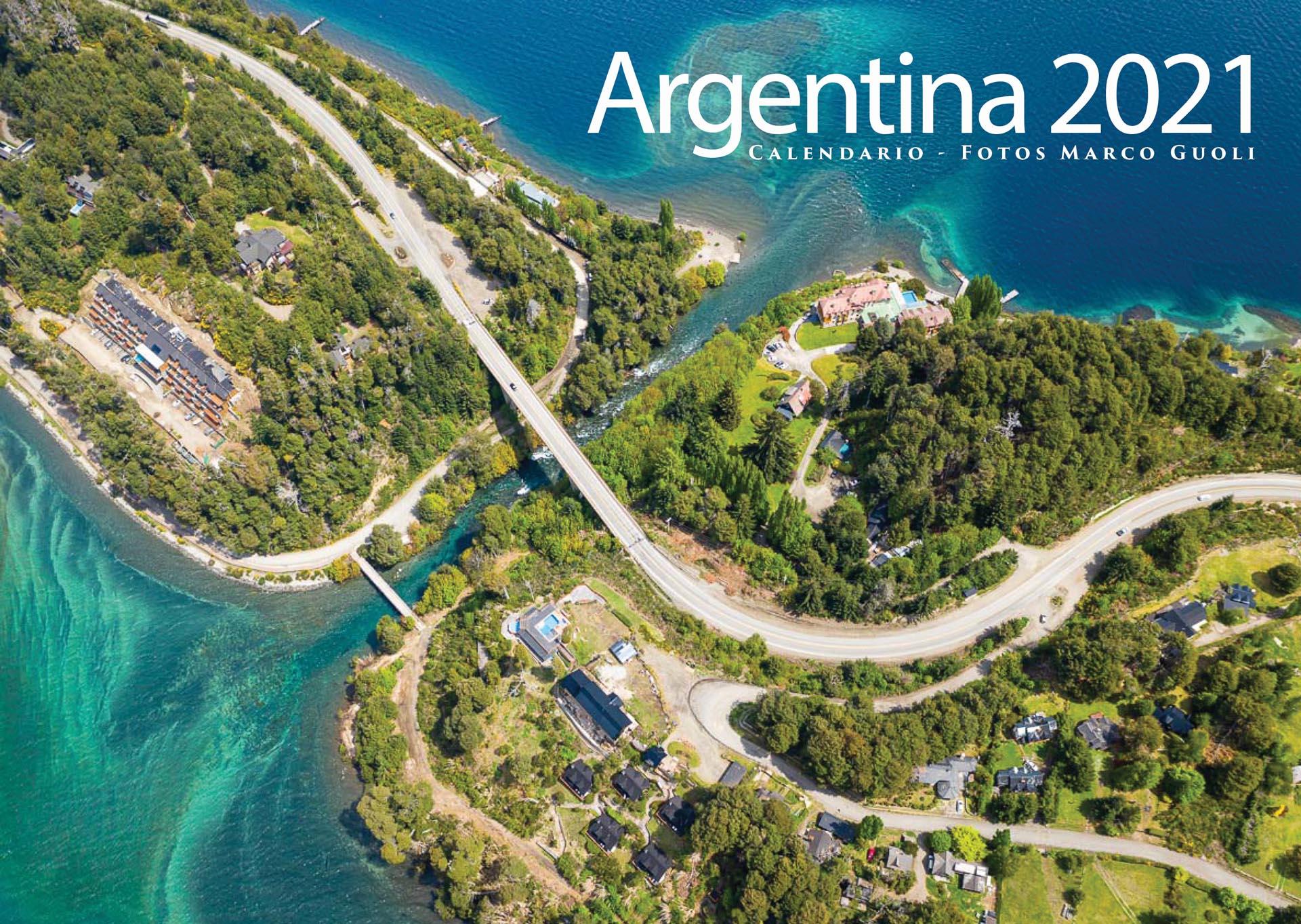 Tapa del Calendario Argentina 2021 con una foto del rio correntoso en neuquen de Marco Guoli