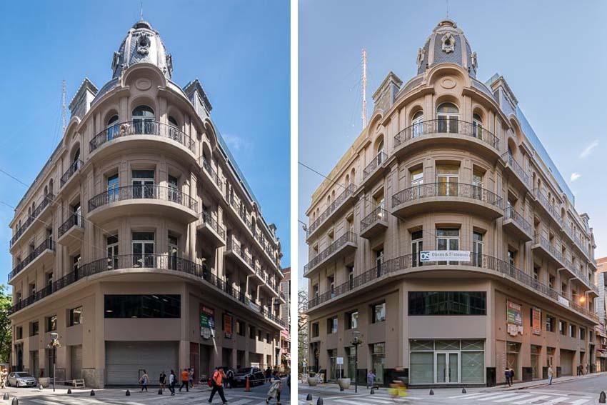 DOble imagen de la arquitectura exterior de un edificio restaurado en Buenos  Aires