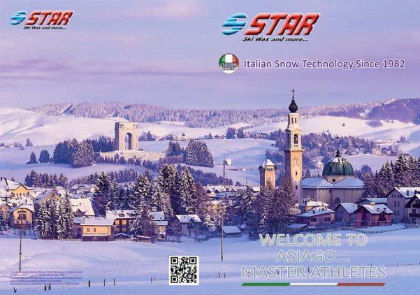 tapa de la Brochure Star Ski Wax con una foto de Marco Guoli del pueblo de Asiago nevado, Italia